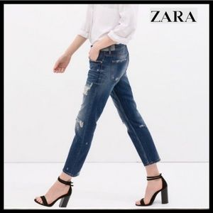 Zara Distressed Relaxed Fit Ankle Jeans